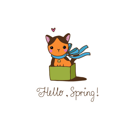 defenseless: Cute little spotted cat in the box. Hello, Spring text. Hand drawing isolated objects on white background. Vector illustration.