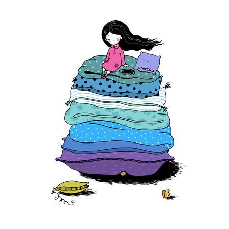 Prinzessin auf der Erbse. Decken und Kissen. Handzeichnungsobjekte auf weißem Hintergrund. Vektor-Illustration.