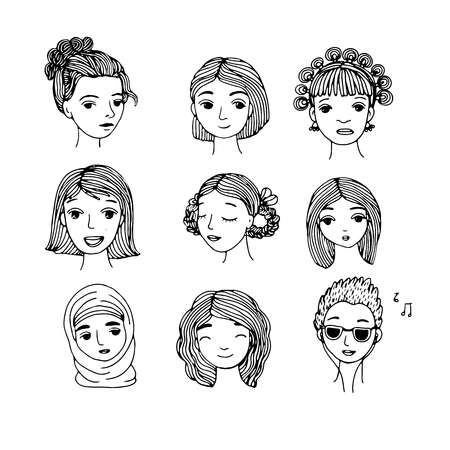 yashmak: Different faces. Hand drawing isolated objects on white background. Vector illustration. Illustration