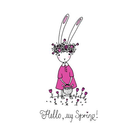 Easter bunny in a wreath. Basket of flowers. Hand drawing isolated objects on white background. Vector illustration.