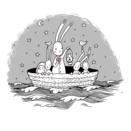 sky lantern: Cute little hares and hedgehog floating in a boat on the river. Night sky. Lantern, the heart and birds. Hand drawing isolated objects on white background. Vector illustration. Illustration