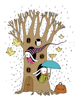 cute house: Magic Tree, rabbits and birds. Hand drawing isolated objects on white background. Vector illustration.