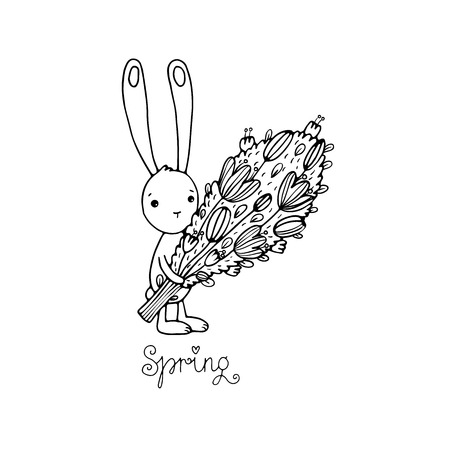 defenseless: Cute little rabbit with a bouquet. Spring text. Hand drawing isolated objects on white background. Vector illustration.