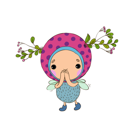 Forest Fairy on a white background. Vector illustration.