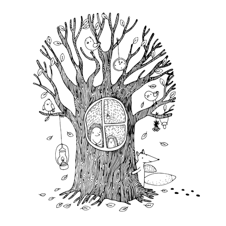 burrow: Autumn tree, hedgehog, fox and birds. Hand drawn vector illustration on a white background. Coloring book.