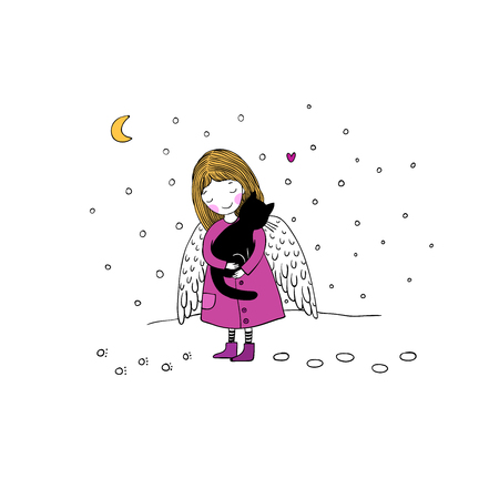 angel cat: Angel and black cat on a white background. Hand drawn vector illustration.