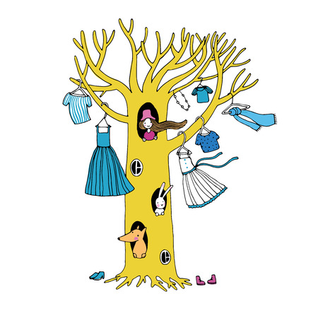 Magic tree with clothes. The fox, hare and the girl. Vector illustration.