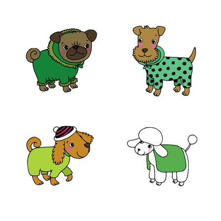 setter: Cute cartoon dogs in winter clothes. Pug, terrier, poodle, setter. Hand drawing isolated objects on white background. Vector illustration.
