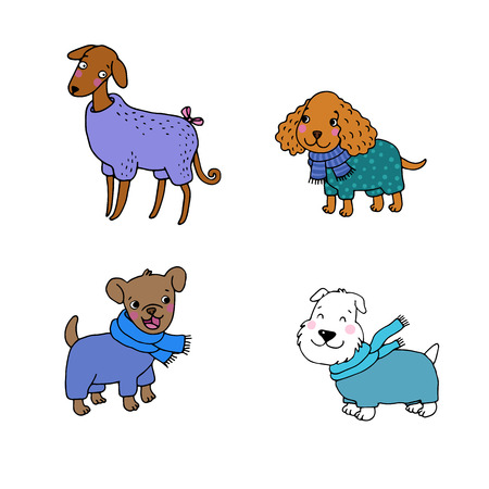 cocker: Cute cartoon dogs in winter clothes. Italian Greyhound, Cocker Spaniel, Terrier. Hand drawing isolated objects on white background. Vector illustration.