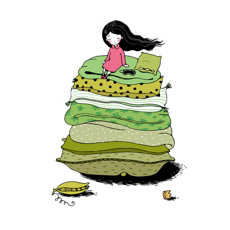 blankets: Princess on the Pea. Blankets and pillows. Hand drawing isolated objects on white background. Vector illustration.
