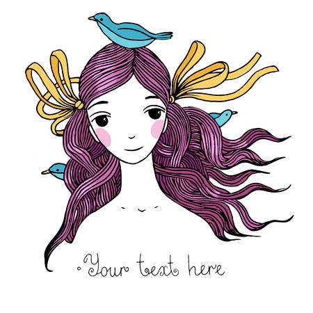 鳥を持つ美しい少女。手に白い背景の孤立したオブジェクトを描画します。ベクトルの図。