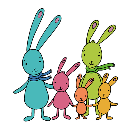 Family of cute cartoon hares. Hand drawn vector illustration on a white background.