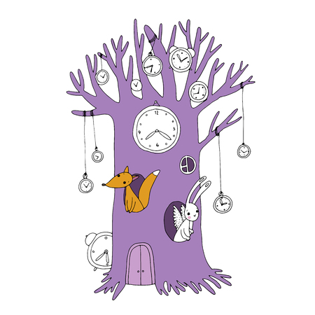 black history: Magic tree, clock, fox and hare. Hand drawing isolated objects on white background. Vector illustration. Illustration
