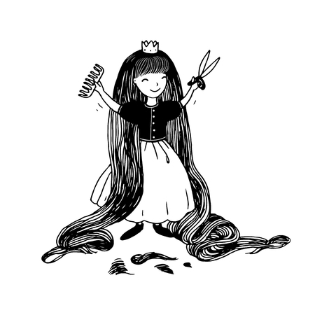 rapunzel: Princess with long hair has cut bangs. Hand drawing isolated objects on white background. Vector illustration.
