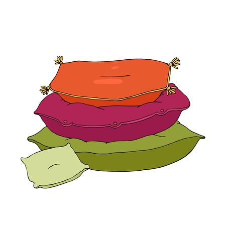 白い背景の上に美しい枕。クッション。手に白い背景の孤立したオブジェクトを描画します。ベクトルの図。