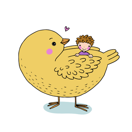 hide and seek: Cute cartoon baby and big bird. Hand drawing isolated objects on white background. Vector illustration. Illustration