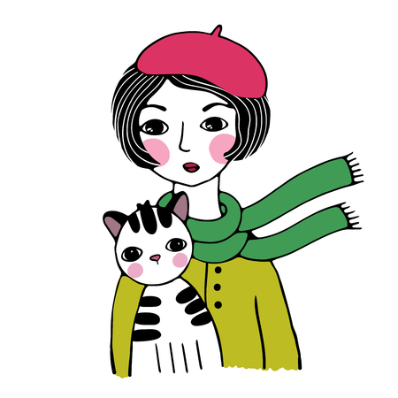 Beautiful woman in a beret. Striped cat. Hand drawing isolated objects on white background. Vector illustration.