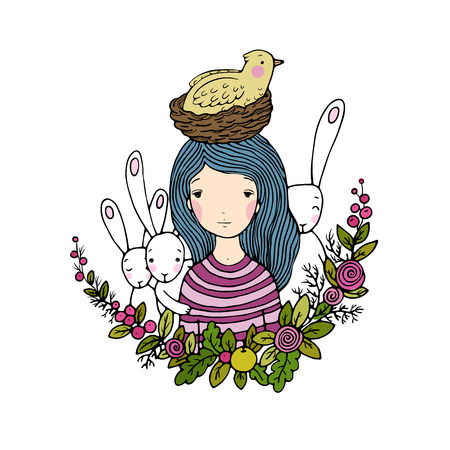 beautiful young girl and birds, nest, birds and flowers. Hand drawn vector illustration. Illustration