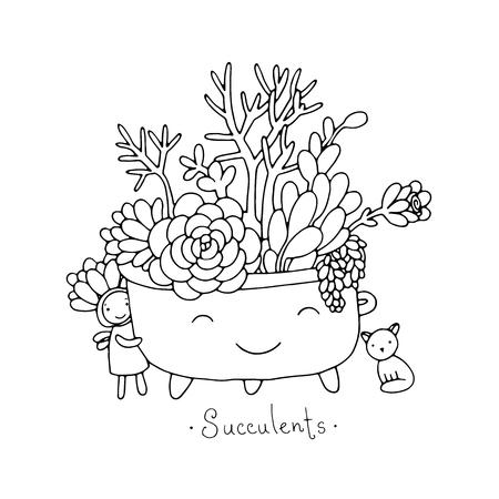 漫画かわいい多肉植物の鍋で。猫と妖精。手に白い背景の孤立したオブジェクトを描画します。ベクトルの図。
