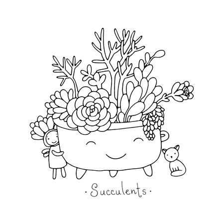 Cartoon cute succulents in pot. Cat and Fairy. Hand drawing isolated objects on white background. Vector illustration.