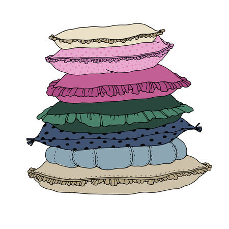 pillows: Types of sleeping pillows set. Hand drawing isolated objects on white background. Vector illustration.