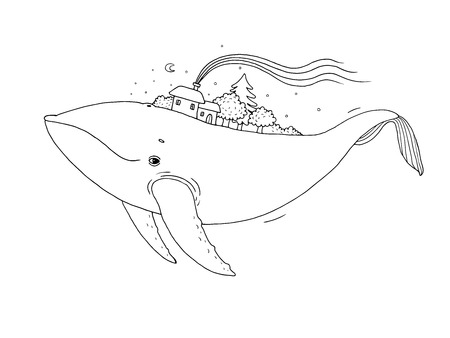 Big beautiful whale with houses and trees in the back. Hand drawing isolated objects on white background. Vector illustration. Animal in the sea and ocean.