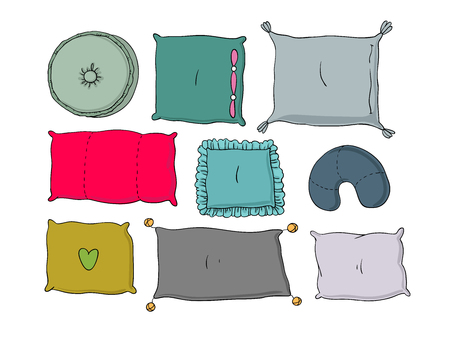 Types of sleeping pillows set. Hand drawing isolated objects on white background. Vector illustration.