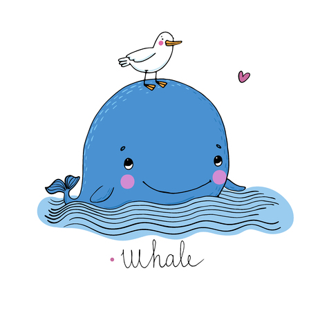 Little pretty whale and seagull. Hand drawing isolated objects on white background. Vector illustration. Coloring book.