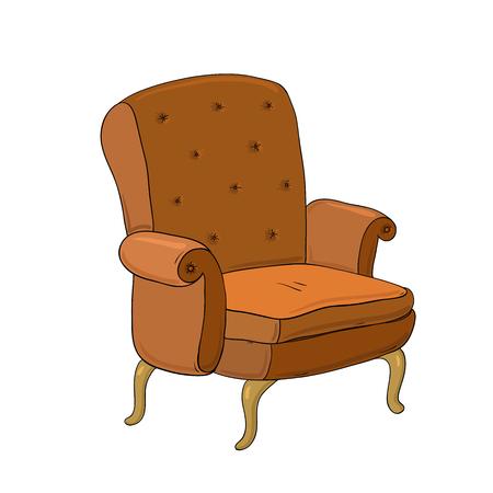 美しいヴィンテージ ・ ブラウンの椅子。手に白い背景の孤立したオブジェクトを描画します。ベクトルの図。