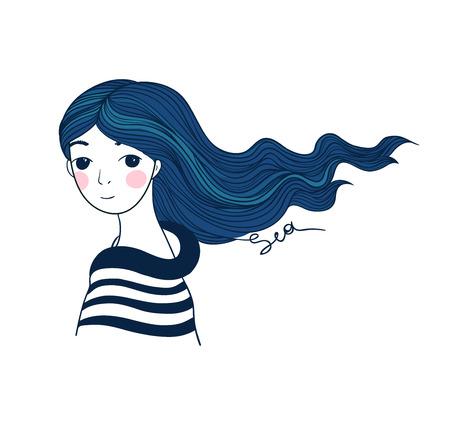 Belle jeune fille marin avec une baleine et étoiles dans les cheveux. Dessin à la main des objets sur fond blanc isolé. Vector illustration.