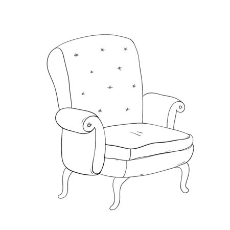 wooden stool: Beautiful vintage brown chair. Hand drawing isolated objects on white background. Vector illustration.