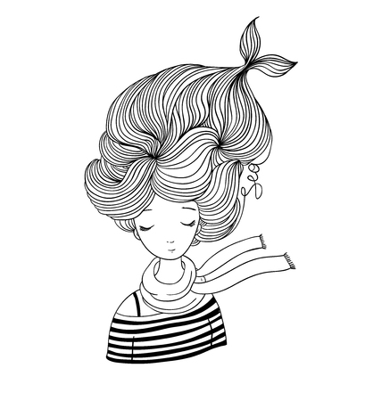 strip shirt: Beautiful young girl sailor. Sea theme. Hand drawing isolated objects on white background. Vector illustration.