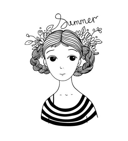 Mooi jong meisje met vlechten en bloemen. Gestreept shirt. geïsoleerd Hand tekening objecten op een witte achtergrond. Vector illustratie. Stock Illustratie