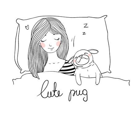 pensive: Sleeping beautiful young girl and a cute pug.Pillow and blanket. Pets. Hand drawing isolated objects on white background. Vector illustration.