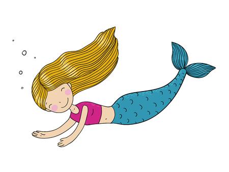 Beautiful little mermaid. Hand drawn vector illustration on a white background. Illustration