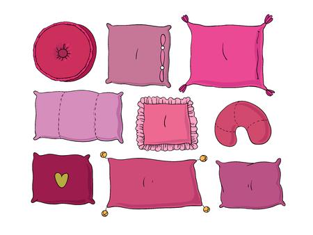 Tipi di cuscini per dormire insieme. Disegno a mano isolato oggetti su sfondo bianco. Illustrazione vettoriale. Vettoriali
