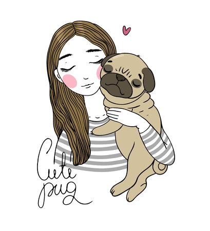 fondle: Beautiful young girl and a cute pug.Pets. Hand drawing isolated objects on white background. Vector illustration. Illustration