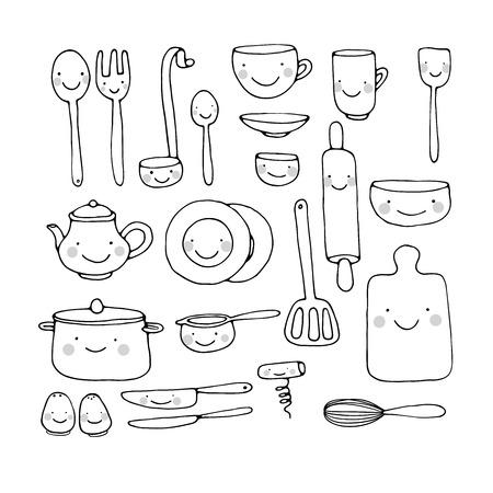 Een set keukengerei. Hand tekening geïsoleerde objecten op een witte achtergrond. Vector illustratie.