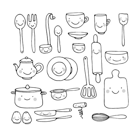 A set of kitchen utensils. Hand drawing isolated objects on white background. Vector illustration. Vectores