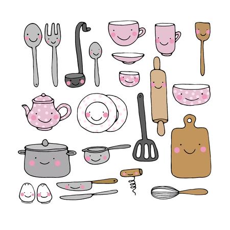Un ensemble d'ustensiles de cuisine. Dessin à la main des objets sur fond blanc isolé. Vector illustration.