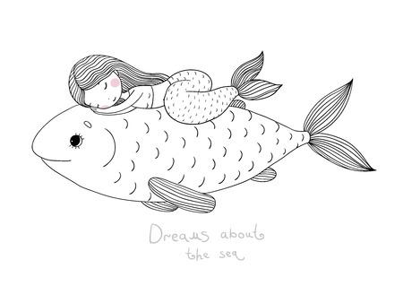 美しい人魚の像や大きな魚。手は、白の背景にベクトル図を描いた。