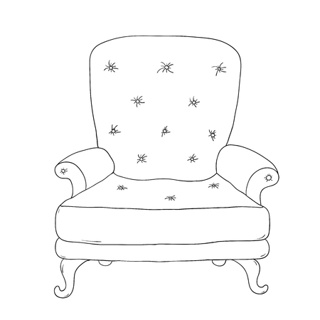 armrest: Beautiful vintage chair. Hand drawing isolated objects on white background. Vector illustration.