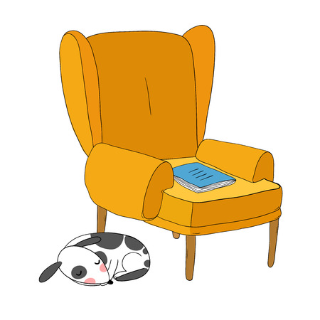 Beautiful vintage chair, notebook and a cute dog. Hand drawing isolated objects on white background. Vector illustration.