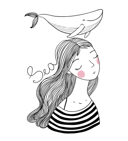Beautiful young girl sailor with a whale. Sea animals. Hand drawing isolated objects on white background. Vector illustration. Coloring book Vettoriali