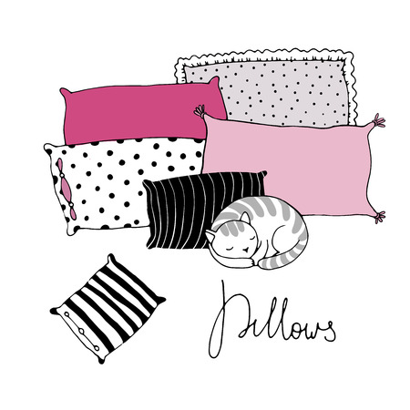 pillows: Beautiful pillows and cute cat on a white background. Hand drawn vector.