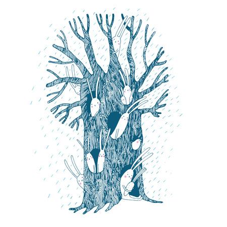 Magic Tree en hazen. geïsoleerd Hand tekening objecten op een witte achtergrond. Vector illustratie.