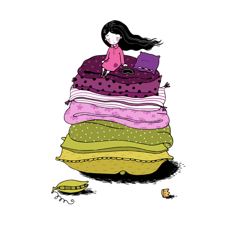 Princess on the Pea. Blankets and pillows. Hand drawing isolated objects on white background. Vector illustration.
