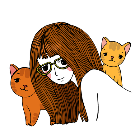 cat's eye glasses: Beautiful young girl and a cute little cats. Hand drawn vector on a white background. Coloring book. Illustration