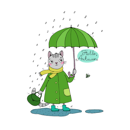 puddles: Cute cartoon cat, umbrella, rain and puddles. Hand drawing isolated objects on white background. Vector illustration. Hello, Autumn. Illustration