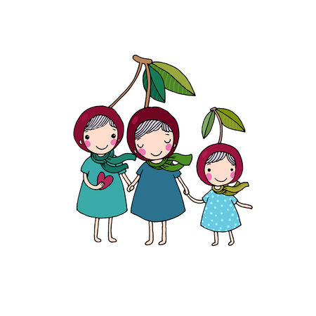 history background: cute little girl cherry. Hand drawing isolated objects on white background. Vector illustration.